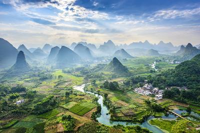Landscape of Guilin, Li River and Karst Mountains. Located near Yangshuo County, Guilin City, Guang- aphotostory-Photographic Print