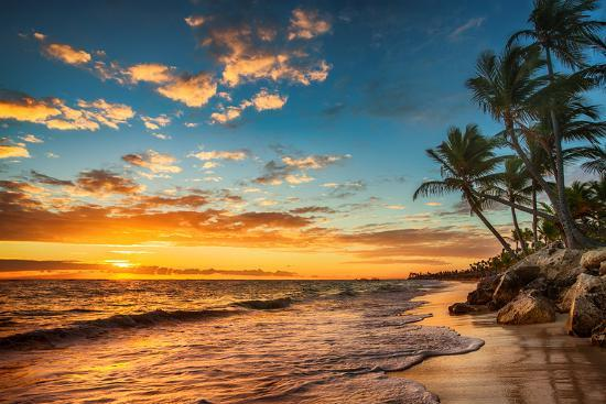 Landscape Of Paradise Tropical Island Beach Sunrise Shot Photographic Print By Valentin Valkov Art