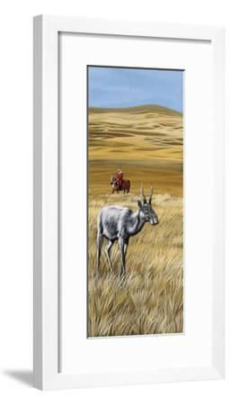 Landscape of the Savannah with Antelope, Drawing--Framed Giclee Print