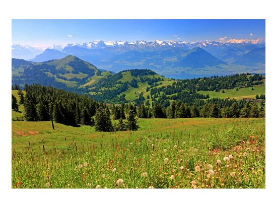 Landscape on Rigi-Kulm with View of Lake Lucerne and the Urner Alps, Canton of Lucerne, Switzerland--Art Print