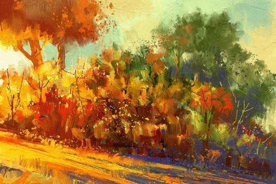 Landscape Painting of Beautiful Autumn Forest with Sunlight-Tithi Luadthong-Art Print