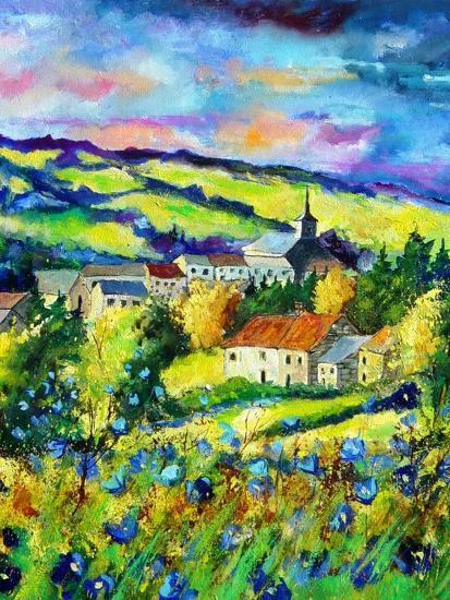 Landscape summer blue poppies village Belgium-Pol Ledent-Art Print