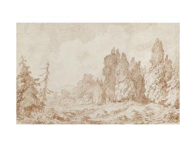 Landscape with a Bridge, C.1760-Jean-Honore Fragonard-Giclee Print