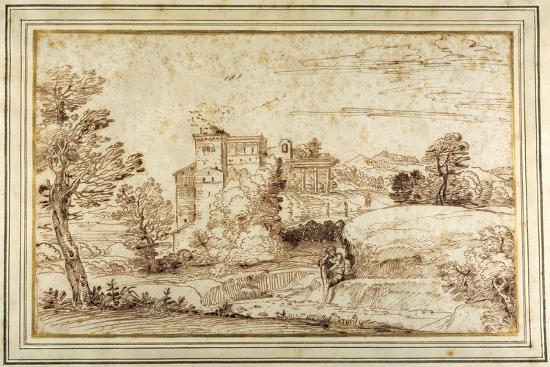 Landscape with a Castle and the Ruins of a Classical Portico-Annibale Carracci-Giclee Print