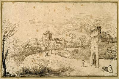Landscape with a Crenellated Gatehouse and a Winding Road-Guercino (Giovanni Francesco Barbieri)-Giclee Print