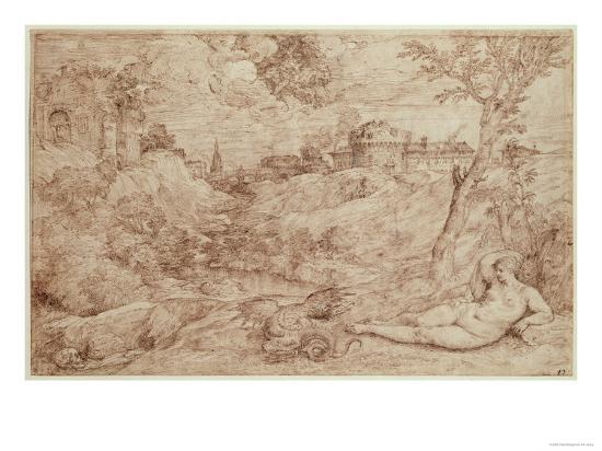 Landscape with a Dragon and a Nude Woman Sleeping-Titian (Tiziano Vecelli)-Giclee Print