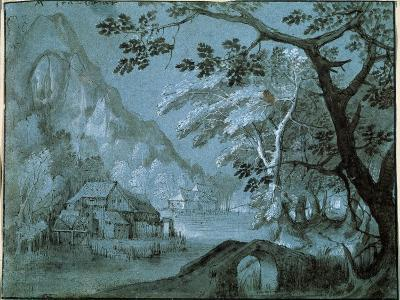Landscape with a Mill by a Mountain Lake, C1610-C1620S-Adriaen van Stalbemt-Giclee Print