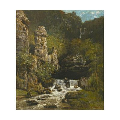 Landscape with a Waterfall, C.1865-Gustave Courbet-Giclee Print