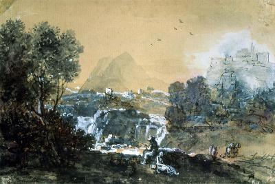 Landscape with a Waterfall, Italian Painting of 18th Century-Francesco Zuccarelli-Giclee Print