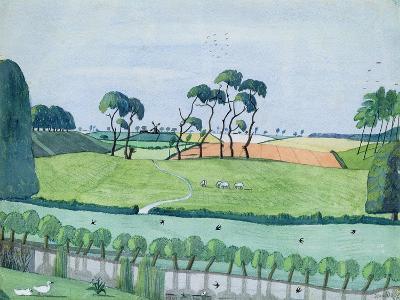 Landscape with a Windmill-John Northcote Nash-Giclee Print