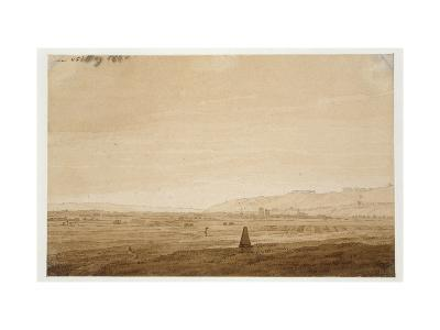 Landscape with an Obelisk, 1803 (Point of the Brush in Brown Ink and Sepia on Off-White Paper)-Caspar David Friedrich-Giclee Print