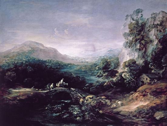 Landscape with Bridge-Thomas Gainsborough-Giclee Print