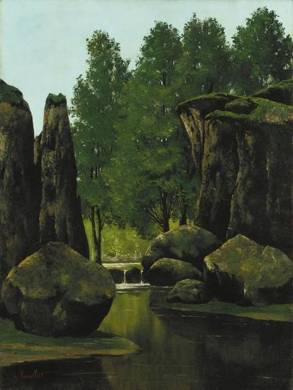 Landscape with Brook and Rocks-Gustave Courbet-Giclee Print