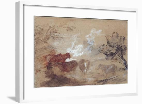 Landscape with Cattle and a Horse in Windy Weather, C.1785-Thomas Gainsborough-Framed Giclee Print
