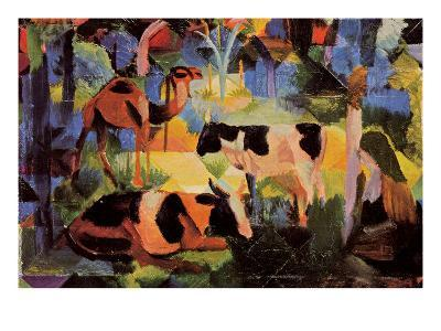 Landscape with Cows and Camels-Auguste Macke-Art Print