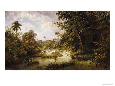 Landscape with CowsPaisaje Con Vacas, 1882-Esteban Chartrand-Giclee Print