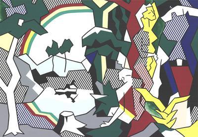 Landscape With Figures and Rainbow (No Text)-Roy Lichtenstein-Premium Edition
