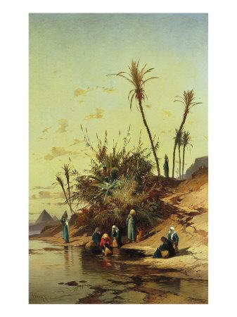 Landscape with Figures on the Nile--Giclee Print