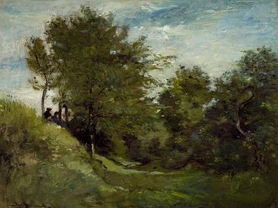 Landscape with Figures Seated on a Bank, Late 1870S-Charles Francois Daubigny-Giclee Print