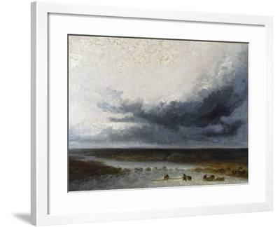 Landscape with Fishermen at the Mouth of a River-Georges Michel-Framed Giclee Print