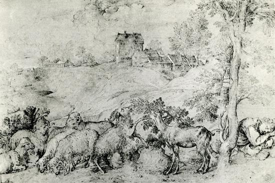 Landscape with Flock of Sheep, C1520-Titian (Tiziano Vecelli)-Giclee Print
