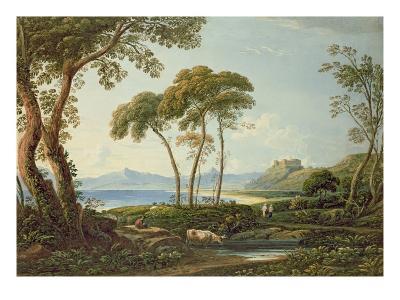 Landscape with Harlech Castle-John Varley-Giclee Print