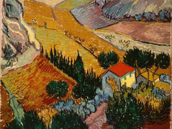 Landscape with House and Ploughman, 1889-Vincent van Gogh-Premium Giclee Print