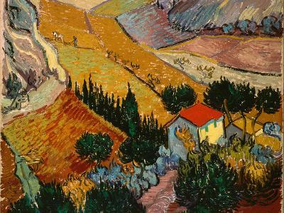 Landscape with House and Ploughman, 1889-Vincent van Gogh-Giclee Print