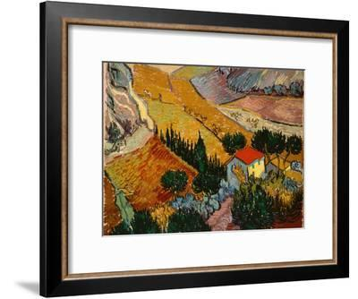 Landscape with House and Ploughman, 1889-Vincent van Gogh-Framed Giclee Print