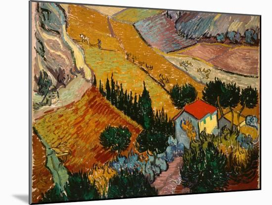 Landscape with House and Ploughman, 1889-Vincent van Gogh-Mounted Giclee Print