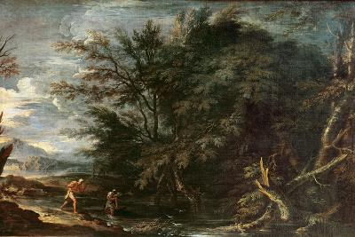 Landscape with Mercury and the Dishonest Woodman, C.1650-Salvator Rosa-Giclee Print