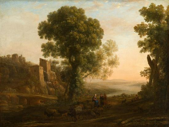 Landscape with Peasants Returning with Their Herds, c.1637-Claude Lorrain-Giclee Print