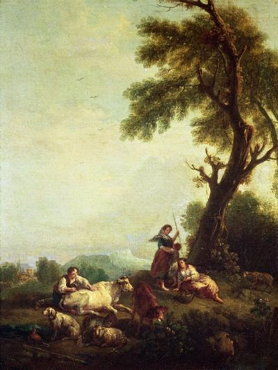 Landscape with Peasants Watching a Herd of Cattle-Francesco Zuccarelli-Giclee Print