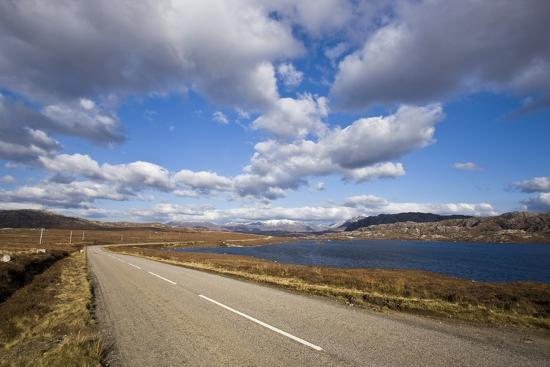 Landscape with Road, Lake and Clouds,Scotland, United Kingdom-Stefano Amantini-Photographic Print