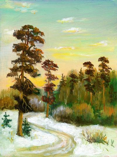Landscape With Road To Winter Wood-balaikin2009-Art Print