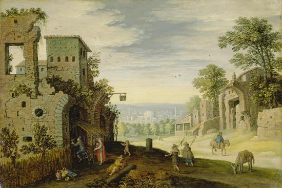 Landscape with Ruins and View of a Town, Ca. 1620-Marten Ryckaert-Giclee Print