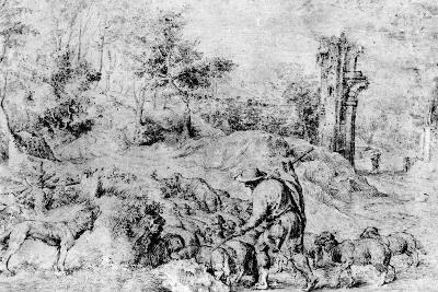 Landscape with Shepherd and Flock, C1520-Titian (Tiziano Vecelli)-Giclee Print