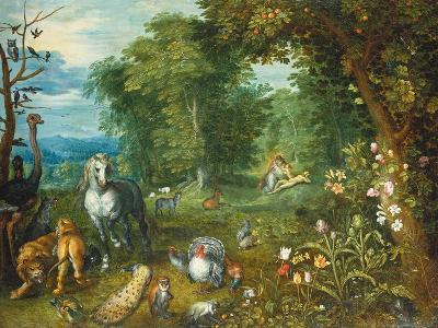 Landscape with the Creation of Eve-Mar Brueghel the Elder-Giclee Print
