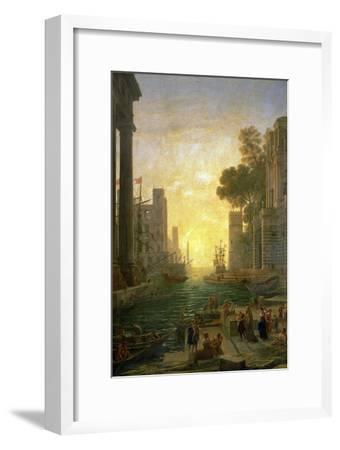 Landscape With the Embarkment of Saint Paula Romana In Ostia, 1639-1640-Claude Lorraine-Framed Giclee Print