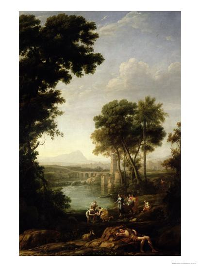 Landscape with the Finding of Moses-Claude Lorraine-Giclee Print