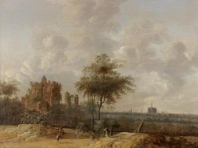 Landscape with the Ruined Castle of Brederode and a Distant View of Haarlem, 1655-Jacob Van der Croos-Giclee Print