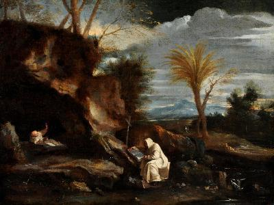 Landscape with Two Carthusian Monks-Pier Francesco Mola-Giclee Print