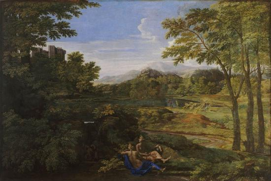 Landscape with Two Nymphs and a Snake, Ca 1659-Nicolas Poussin-Giclee Print