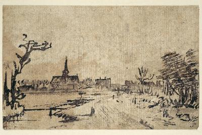 Landscape with Water, the Village of Amstelveen in the Background, C.1654-55-Rembrandt van Rijn-Giclee Print