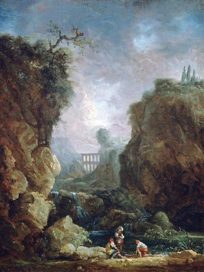 Landscape with Waterfall and Aqueduct, C1750-1808-Robert Hubert-Giclee Print