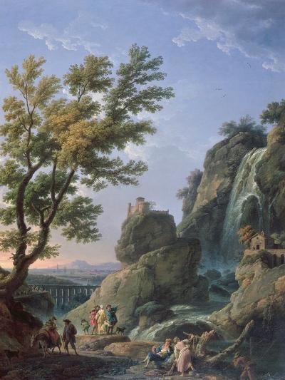 Landscape with Waterfall and Figures, 1768-Claude Joseph Vernet-Giclee Print