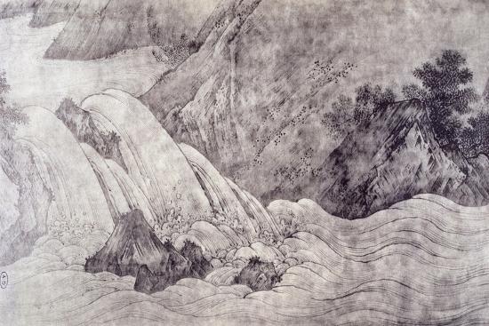 Landscape with Waterfall-Kano Motonobu-Giclee Print