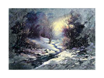 Landscape With Winter Wood Small River-balaikin2009-Art Print