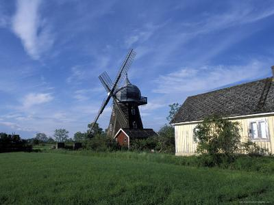 Landscape with Wooden Windmill and Two Houses in the Village of Kvarnbacken, Oland Island, Sweden-Richard Nebesky-Photographic Print