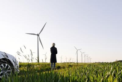Landscape, Woman, Wind Turbines, Wind Power Station, Wind Park-Axel Schmies-Photographic Print